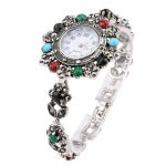 2018 Retro Look Exquisite Decorative Watch Turkey <b>Jewelry</b> For Women Floral Crystal Bracelets Watch For Women Silver Plated