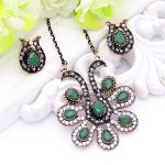 Vintage Turkish Peacock Flower Necklace For Women <b>Antique</b> Gold Color Resin Rhinestone Long Necklace Indian Gift Bridal <b>Jewelry</b>