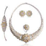 Dazz Fashion Rose Flower Wide Choker Necklace Earrings Ring Bracelet Set Two Colors Bijoux Wedding Party Luxury <b>Accessories</b>