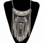 2 Colors <b>Antique</b> Gold Silver Fashion Choker Necklaces & Pendants Leaf Tassel Chain Moon Tassel Statement Necklace Women <b>Jewelry</b>