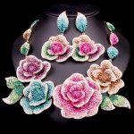 Gorgeous Bridal <b>Jewelry</b> Sets Wedding Necklace Earrings For Brides Party <b>Accessories</b> Big Flowers Costume Decoration Gift Women