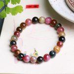 JoursNeige Natural Tourmaline Stone Bracelet 7mm Beads Bracelets Multi Color Bracelet for Men Women <b>Jewelry</b> <b>Accessories</b>