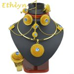 Ethlyn big Fashion Ethiopian <b>jewelry</b> sets with hair pcs Gold Color stone <b>jewelry</b> sets for Ethiopian women <b>accessories</b> S97A