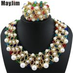 Statement necklace 2018 fashion <b>jewelry</b> sets Handmade bead chain big Pearl dubai <b>jewelry</b> sets Vintage beads Bijoux <b>Accessories</b>