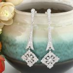 Bella Fashion <b>Art</b> <b>Deco</b> Silver Tone Rhombus Bridal Earrings Clear Cubic Zircon Earrings For Wedding Women Party <b>Jewelry</b> Gift