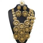 YULAILI 24 Karat Dubai Gold Color <b>Jewelry</b> Set Nigerian Wedding Bridal Long Big <b>Accessories</b>