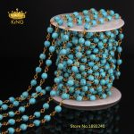 DIY Blue Tur quoise Spinel Rosary Style Beaded Chain,<b>Antique</b> Bronze Tone Wire Wrapped Rosary Chain Faceted Beads <b>Jewelry</b> LS20