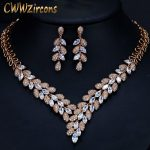 CWWZircons Gorgeous Cubic Zirconia Stone Dubai Necklace Earrings Gold <b>Jewelry</b> Sets For Women Wedding Party <b>Accessories</b> T288