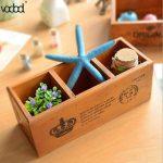 3 Grid <b>Antique</b> Wooden Sundries Container Storage Boxes Desktop Case Home Office Organizer Storages <b>Jewelry</b> Holder