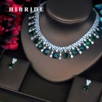 HIBRIDE Luxury Green Color Square Shape CZ <b>Jewelry</b> Sets Bride Necklace Sets Wedding White Gold Color <b>Accessories</b> Wholesale N-419