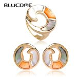 Blucome New Round Shell French Hooks Earrings Ring <b>Jewelry</b> Set Ladies Bridal Wedding Dress Party Women's Day Gifts <b>Accessories</b>