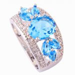 <b>Art</b> <b>Deco</b> Fancy Oval Cut light blue Created 925 Silver Ring Size 7 New Fashion <b>Jewelry</b> Gift For Women