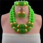 Nigerian green wedding african bead <b>jewelry</b> set crystal dubai fashion <b>jewelry</b> for women party <b>accessories</b> gold-color <b>jewelry</b>