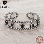 BISAER Vintage Sterling Silver Ring Black Star <b>Art</b> <b>Deco</b> Rings For Women Wedding Sterling Silver <b>Jewelry</b> Gift HUR028