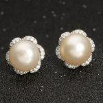 BELLA 925 Sterling Silver Flower Bridal Earrings Ivory Natural Pearl Cubic Zircon Earrings Wedding <b>Accessories</b> Party <b>Jewelry</b>