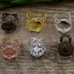 50pc 15mm,20mm Crown ring blank with Cameo Tray,<b>Antique</b> Bronze/Gold/Silver Ring setting,Handmade DIY Zakka <b>jewelry</b> Finding