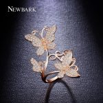 NEWBARK Elegance Lovely Butterfly Finger Ring Paved CZ Stone Party Double Butterflies <b>Accessories</b> <b>Jewelry</b> Woman Best Gifts