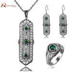 Africa Wedding <b>Jewelry</b> Sets <b>Antique</b> Green Stone Created Emerald Ring Pendant Earrings 925 Silver For Women Bridal <b>Jewelry</b> Sets