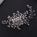 Gorgeous <b>Art</b> <b>Deco</b> Silver Clear Crystals Pearls Flower Leaves Wedding Hair Comb Bridal Headpiece Hair accessories Women <b>Jewelry</b>