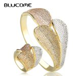 Blucome Luxury Three Color Big Leaves Wide Bangles Ring Sets Women Lady Large Bangle Party <b>Jewelry</b> Sets Europe Style <b>Accessories</b>
