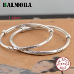 BALMORA 1 Piece Solid 925 Sterling Silver Classic Bangles for Women Gift Pattern Engraving Silver <b>Jewelry</b> <b>Accessories</b> SZ0137