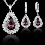 YAAMELI Classic Water Drop Crystal Pendants Necklace Earrings Set 925 Sterling Silver Chain <b>Jewelry</b> Sets For Wedding <b>Accessory</b>
