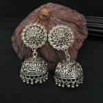 Jaipur India Arab Retro Lid Earrings Bollywood Handmade <b>Antique</b> Silver Tribal <b>Jewelry</b> BOHO Hippie Wind Pakistani Muslim Thailand