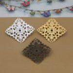 50pcs 30mm Square Flower Pedal <b>Antique</b> Bronze/Silver/Gold vintage cabochon brooches pin base blank settings diy handmade <b>jewelry</b>