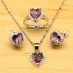 Heart Mystic Rainbow Zircon 925 Sterling Silver <b>Jewelry</b> Set For Women Wedding <b>Accessories</b> Earrings/Pendant/Necklace/Rings