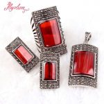 Rectangle Red CZ Crystal Beads <b>Antiqued</b> Tibetan Silver Classical Fashion Style Female Short <b>Jewelry</b>,Free Shipping