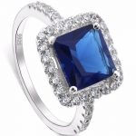 BELLA Fashion 925 Sterling Silver Bridal Ring Square Cubic Zircon Ring For Wedding Women <b>Accessory</b> Party <b>Jewelry</b> Size 6/7/8/9