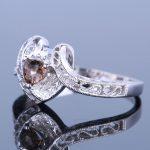 925 Sterling Silver Vintage <b>Art</b> <b>Deco</b> Fine <b>Jewelry</b> Trillion 5x5mm Genuine Smokey Quartz & Diamonds Engagement Wedding Fine Ring