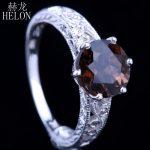 HELON 7.5-8mm 2.12ct Smokey Quartz Diamonds Ring 925 Sterling Silver <b>Art</b> <b>Deco</b> Antique Engagement Wedding Ring <b>Jewelry</b> Women's