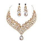 India style African <b>Jewelry</b> sets bridal wedding Party Necklace and earrings set Champagne rhinestone Dress <b>jewelry</b> <b>Accessories</b>