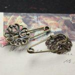 50pcs/Lot fallen petals Brooches <b>Antique</b> Bronze vintage cabochon pin base blank settings diy handmade <b>jewelry</b>