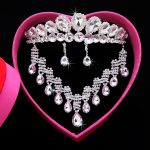 2017 New Fashion Bridal <b>Jewelry</b> Sets Gorgeous Crystal Necklace Earrings crown For Brides Party Prom Wedding <b>Accessories</b> HG-S005G