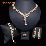 HADIYANA Classicl Sparkling Crystal 4pcs Sets 2 Color Wedding Bridal <b>Jewelry</b> <b>Accessory</b> Bride Party Date Princess Queen BN5746