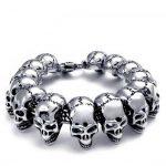 Punk <b>Jewelry</b> Huge Heavy Skull Bracelet Men Stainless Steel Skeleton Men's Bracelets & Bangles Male <b>Accessory</b> Ghost Biker Bangle