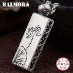BALMORA 925 Sterling Silver Rectangular Lotus Flower Pendants for Women Gift <b>Accessories</b> Fashion <b>Jewelry</b> Without a Chain SY13787