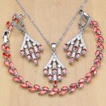 Office 925 Silver <b>Jewelry</b> Set Red Zircon White Crystal For Women Decorative <b>Accessories</b> Earrings/Pendant/Bracelet/Necklace Set
