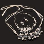 3pc Clear Bead Bridal <b>Jewelry</b> Set Pearl Necklace Bridal Earrings Crystal Headband Handmade <b>Jewelry</b> Sets Wedding Hair <b>Accessories</b>