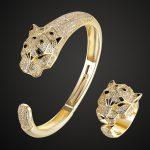Luxury Brand Tiger bangle ring <b>jewelry</b> sets Fashion Women men Gold color bangle&ring cubic zircon Bridal <b>Accessory</b> ring 7 8 9