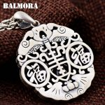 """BALMORA 990 Pure Silver Letter """"FU"""" Hollow Pendants for Women Men Vintage Thai Silver Blessed <b>Jewelry</b> <b>Accessories</b> Gift SY14399"""
