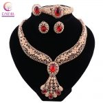 2018 Dubai Fashion Gold Color <b>Jewelry</b> Set Red Crystal Necklace Ring Earrings Bracelet Bride Wedding Gift <b>Accessories</b>
