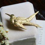 Vintage Bird Brass Brooch Lapel Pin <b>Antique</b> Victorian Badge <b>Jewelry</b> Accessory Handmade Gothic