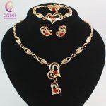 Fashion Red Gem <b>Jewelry</b> Set Austrian Crystal Gold color Heart Pendant Necklace Wedding <b>Accessories</b> Turkey <b>Jewelry</b> Set