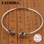 BALMORA 925 Sterling Silver Vintage Double Skulls Open Bangles for Women Men Skeleton Punk <b>Jewelry</b> <b>Accessories</b> Esposas SY50203