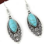 Selling <b>Jewelry</b>>>Ethnic Women <b>Jewelry</b> <b>Antique</b> silver color Black Vein Turquoises Stone Earring Vintage Horse Eye Dangle Earrings