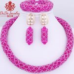 2018 Newest Hot Pink African Nigerian Bridal Wedding <b>Jewelry</b> Set Sexy Chunky Necklace Sets Indian <b>Jewelry</b> <b>Accessories</b> Fashion