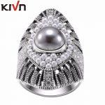 KIVN Fashion <b>Jewelry</b> Indian <b>Antique</b> Vintage Wedding Bridal Engagement Simulated Pearl Rings for Womens Girls Birthday Gifts
